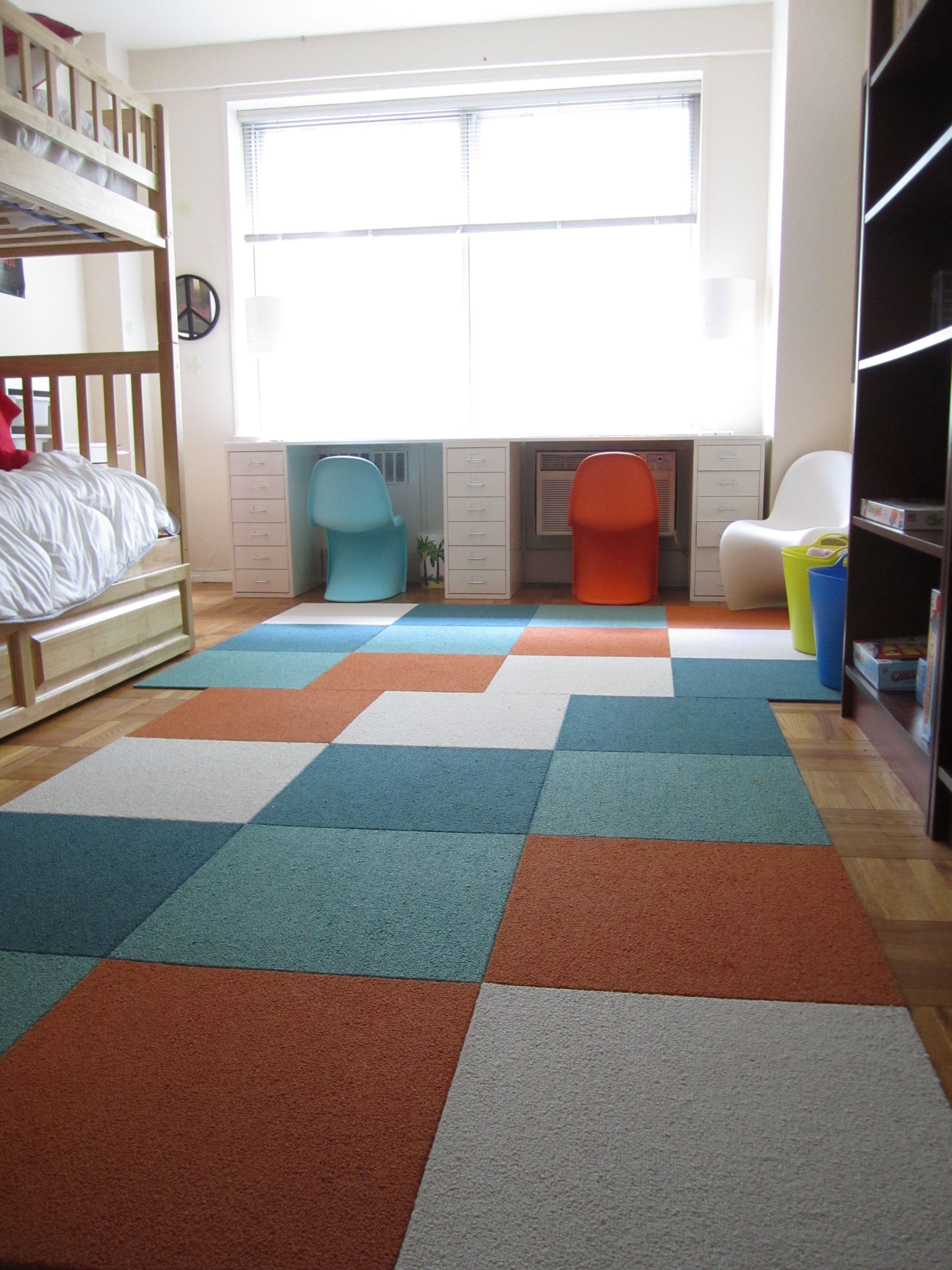 flor tiles in a kid's room.