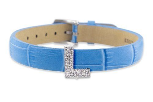 "Diamond Clip On Initial letter ""L"" with Blue Leather Bracelet CoolStyles. $360.75"