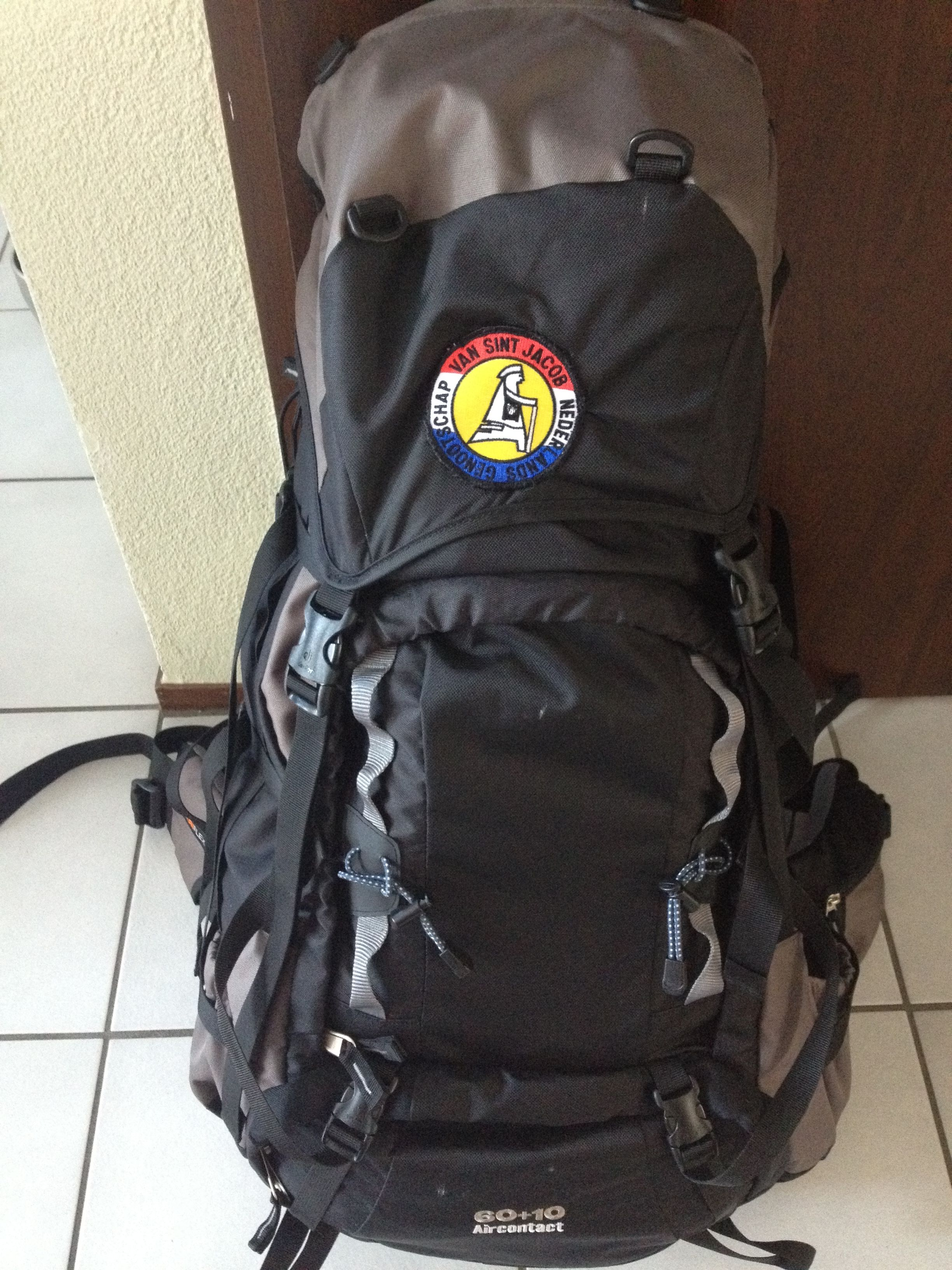 I started with a backpack weighing 12 kilo's but I brought it down to 10 kg; including water.
