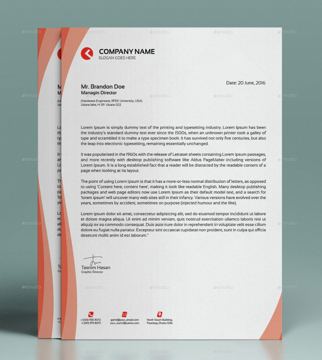 creative letterhead template modern business letterhead – Business Letterhead