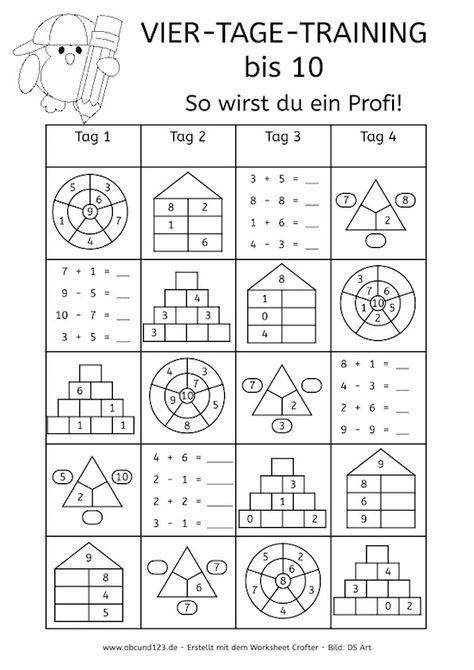 Vier-Tage-Mathe-Training, Zahlenraum bis 10, Arbeitsblatt Mathe bis ...