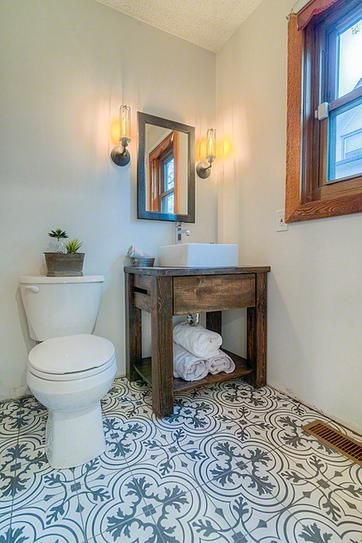 Master Bath Small But Elegant With The Bold Tile