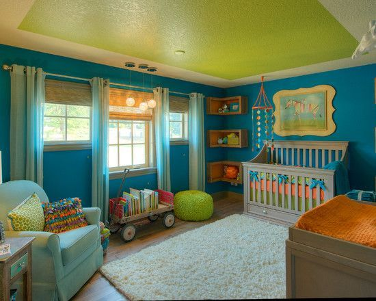 Interesting Unisex Baby Room Themes Eclectic Kids Bright Blue Nursery Green Ceiling Idea White Fur Rug Aureasf Decorating