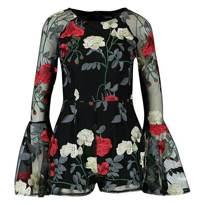 31fc9a7c7d Boohoo Embroidered Floral Flared Sleeve Playsuit