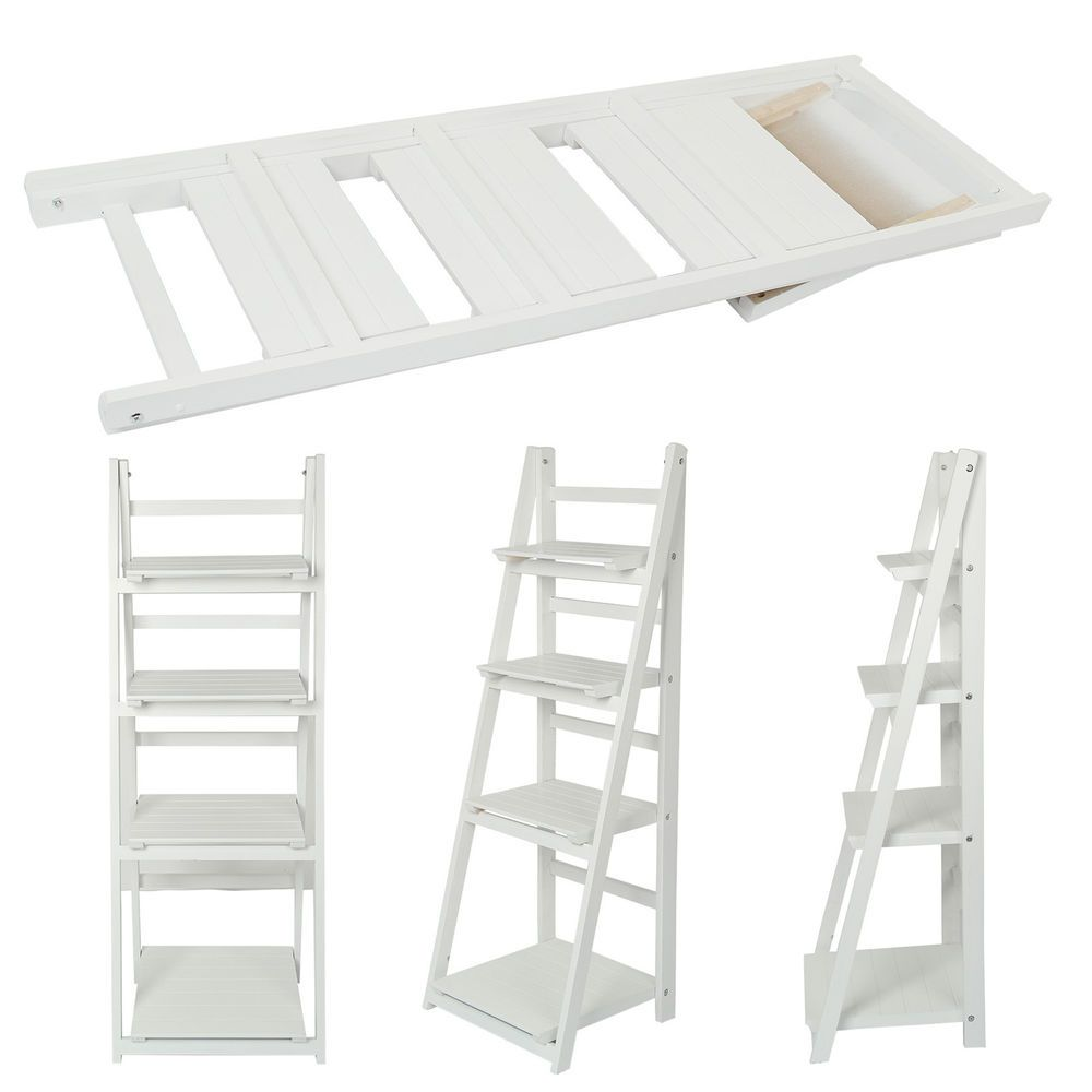 4 Tier White Ladder Shelf Display Unit Free Standing Folding Book Stand Shelves In Home Furniture Diy Furniture Shelves White Ladder Shelf Display Shelves