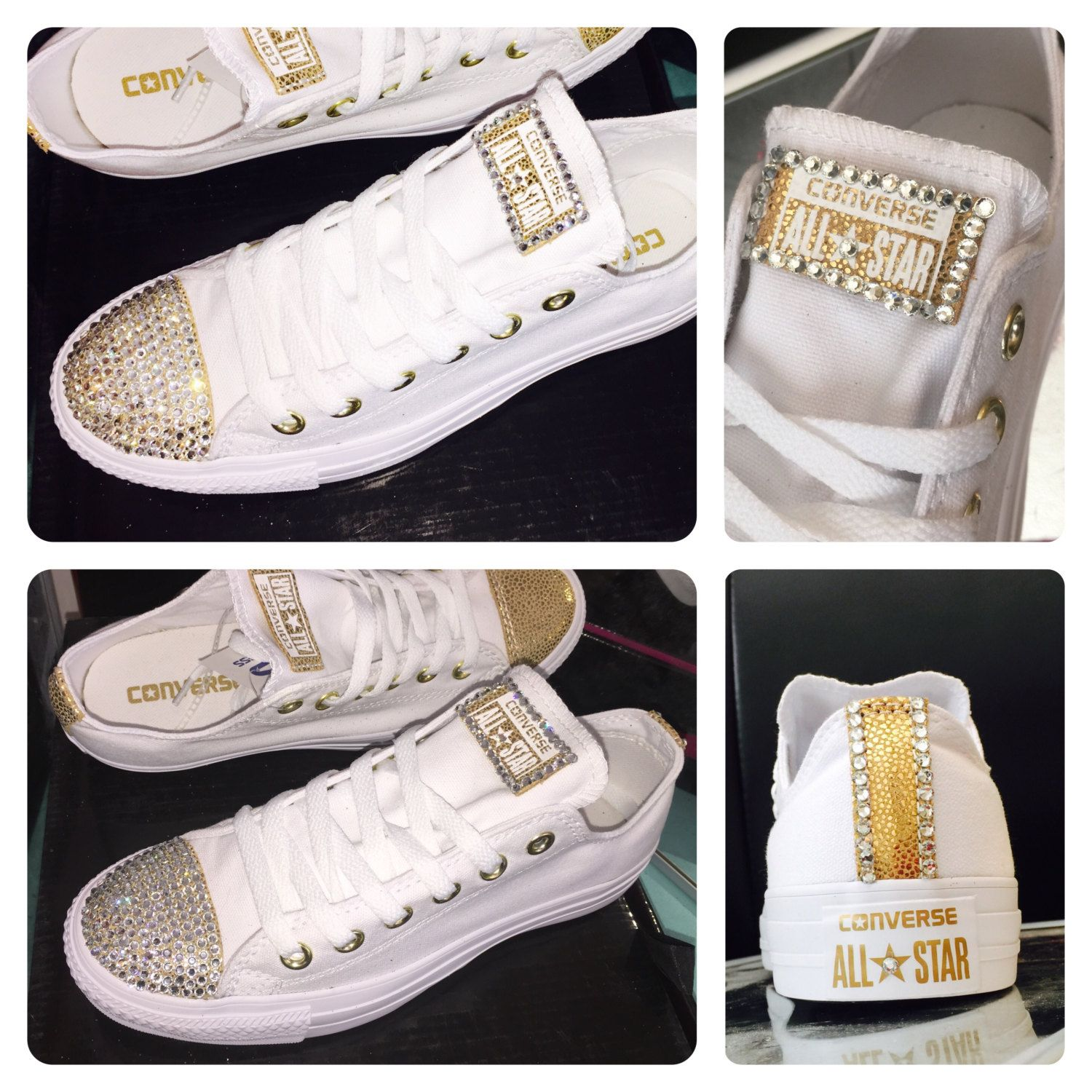 Converse all star canvas white with gold metallic swarovski crystal  sneakers shoes by CrystalCleatss on Etsy 871c21b874b4