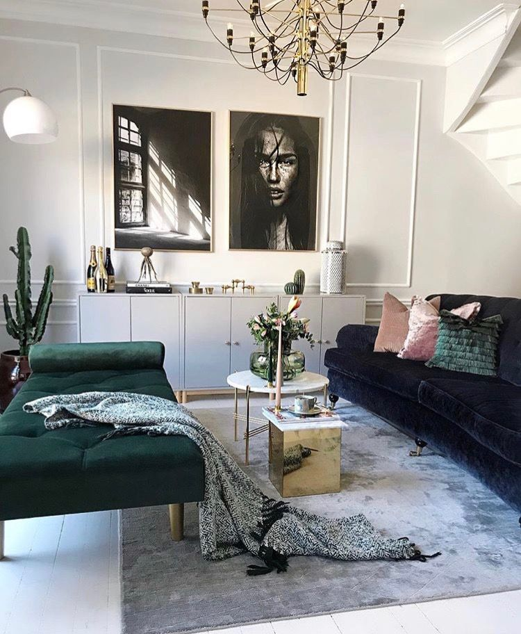 Combining White Walls With Deep Dark Colour Furniture Interior