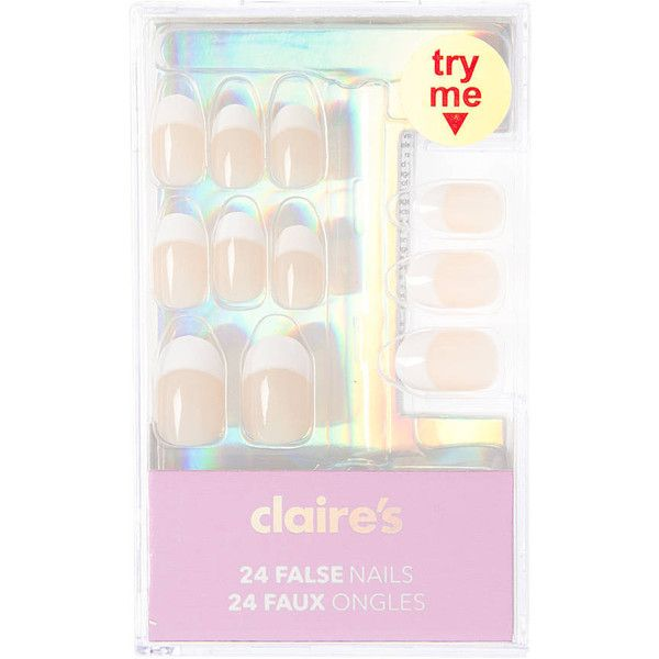 Almond Shaped Peach French Manicure False Nails With Glue Claire S Claire S Fake Nails Fake Nails For Kids Gel Manicure Colors