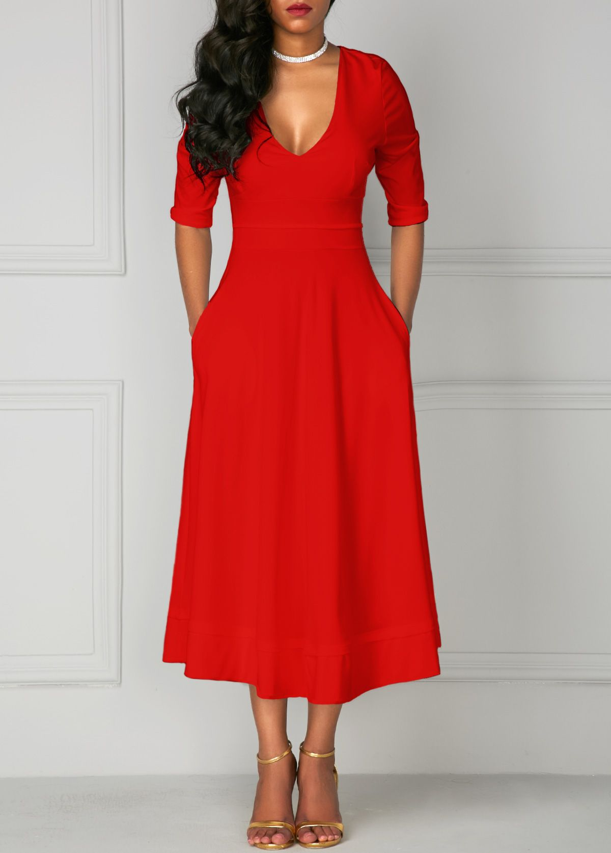 Red V Neck High Waist Half Sleeve Dress
