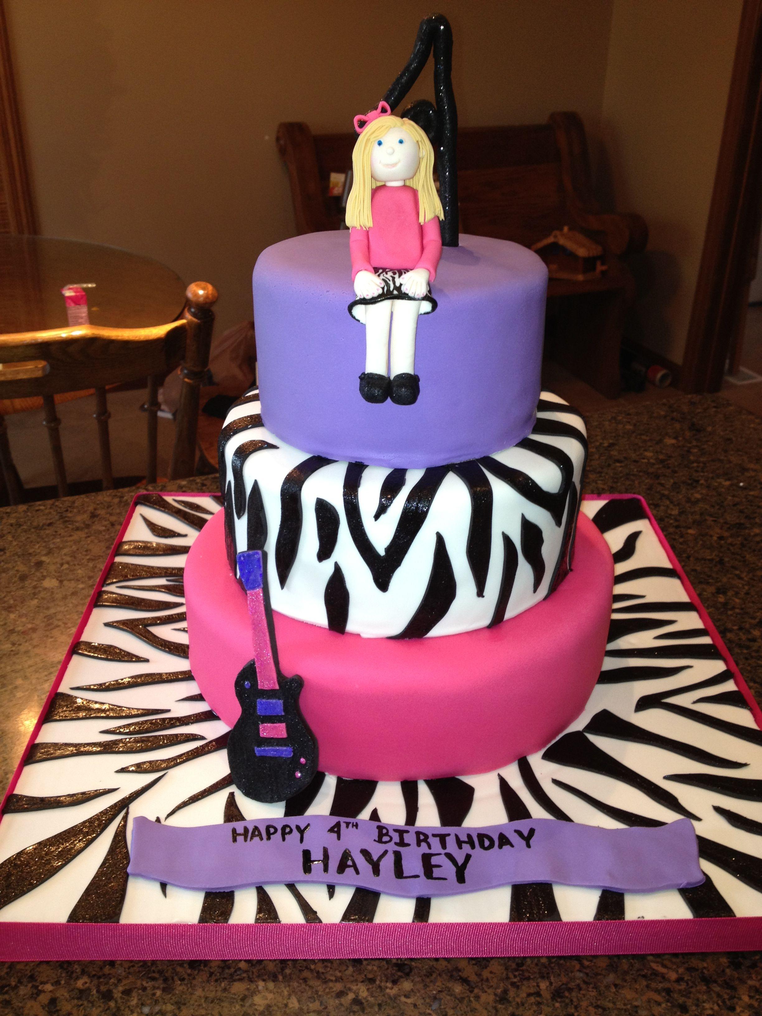 Childrens Birthday Cakes A Zebra Rockstar Cake For My Daughters