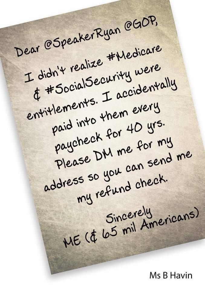 Dear Paul Ryan \ GOP, I didnu0027t realize Medicare and Social - social security change of address form
