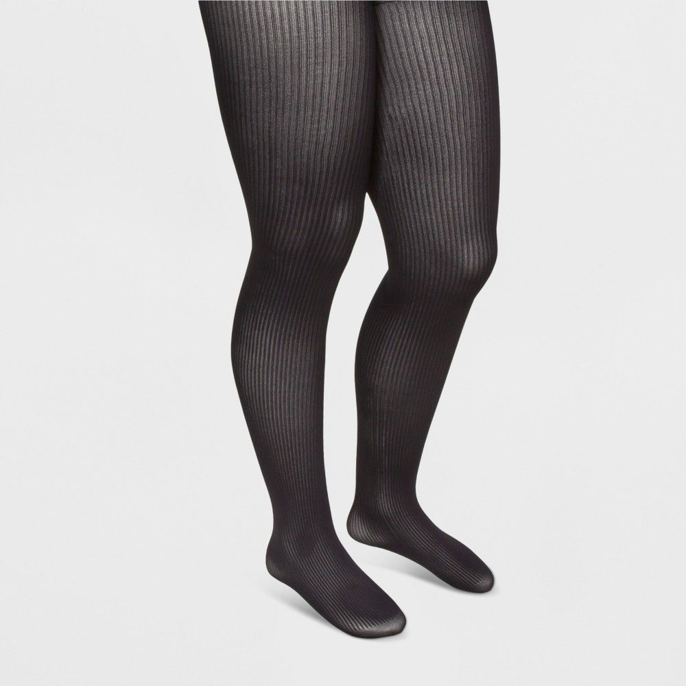 ee2c3cca42e Women s Ribbed Tights - A New Day Black M L. Plus Size ...