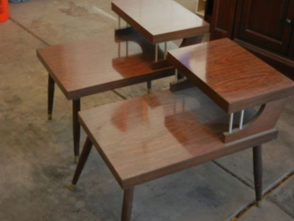 2-tier wood-grain laminate side tables - $125 in Highlands ...
