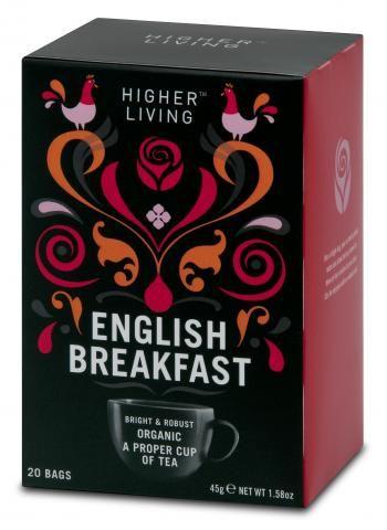 Higher living English Breakfast Teabags (packaging design).