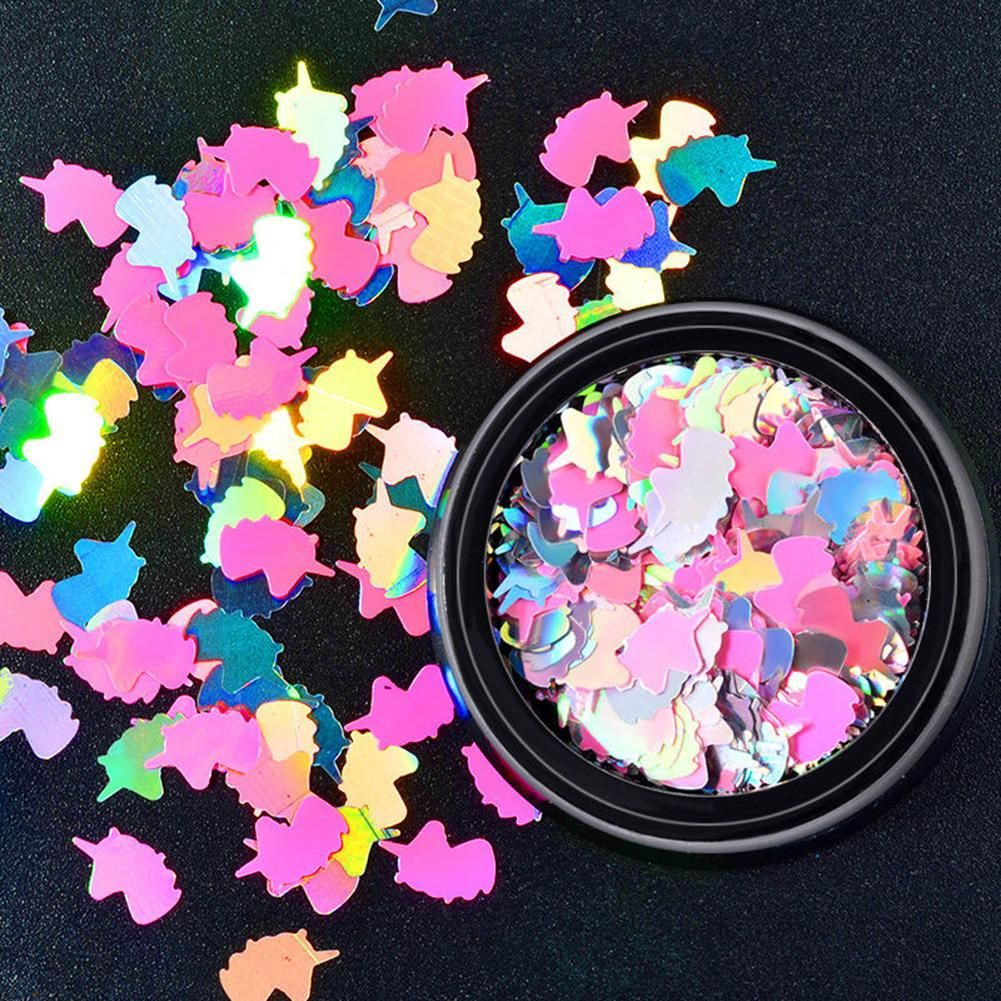 Photo of Fancy Unicorn Nail Art Sequins Rainbow Stickers 3D Colorful Manicure Decoration – as the picture / one size