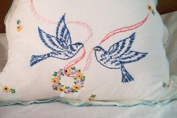 Bluebirds Spring Wedding Feather Pillow Gift Vintage Embroidery Linen