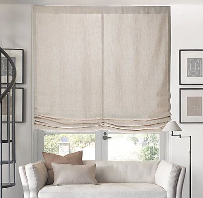 Relaxed roman shade restoration hardware gray for for Restoration hardware window shades