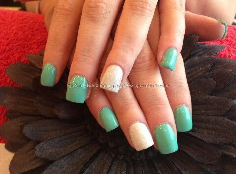 Nice Color Mint Green Nails Short Square Acrylic Nails Square Acrylic Nails