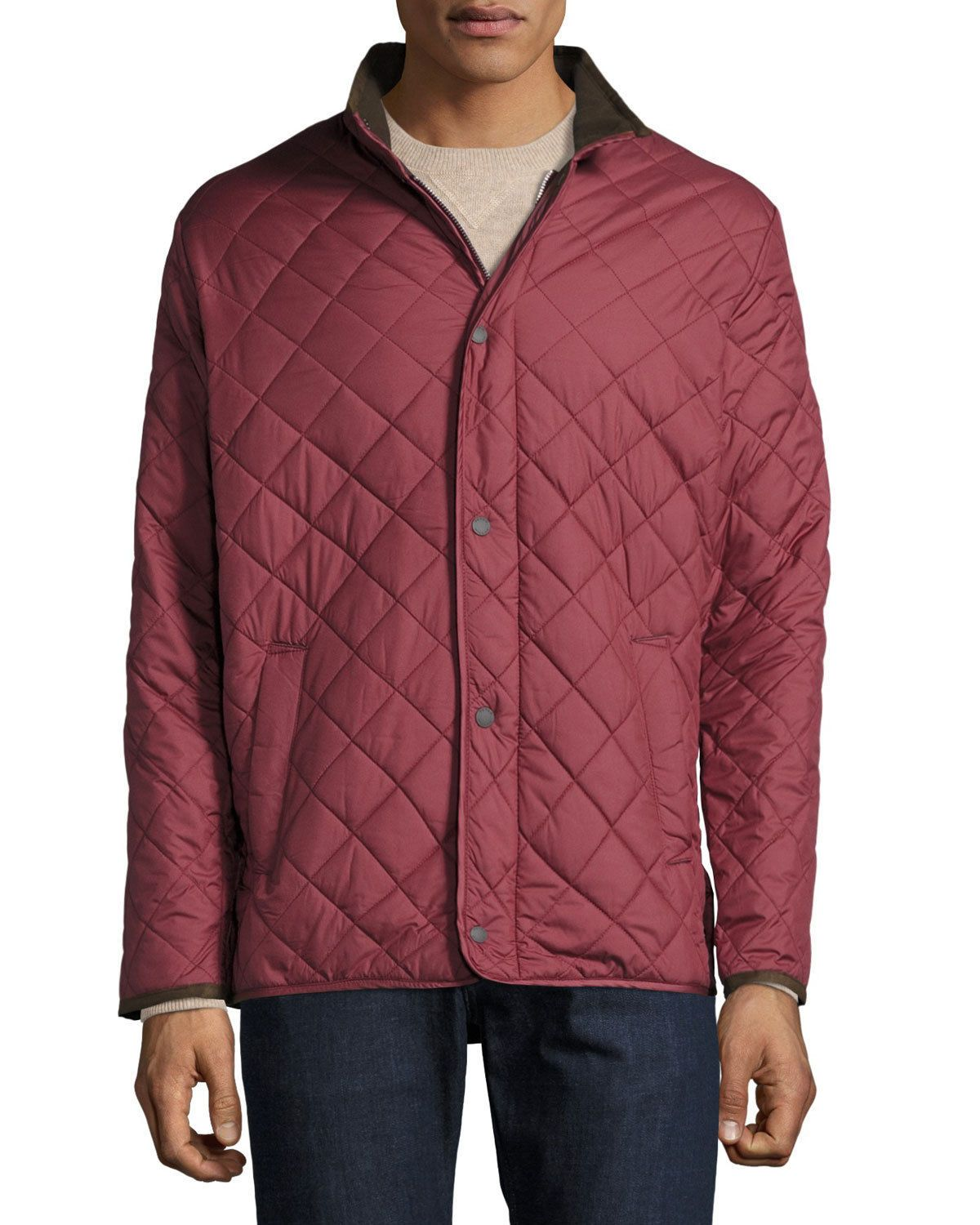 5da2781bc340 NWT  195 MENS PETER MILLAR NORFOLK QUILTED JACKET IN POMEGRANATE COLOR SIZE  M  pomegranate  color  size  jacket  quilted  peter  millar  norfolk  mens