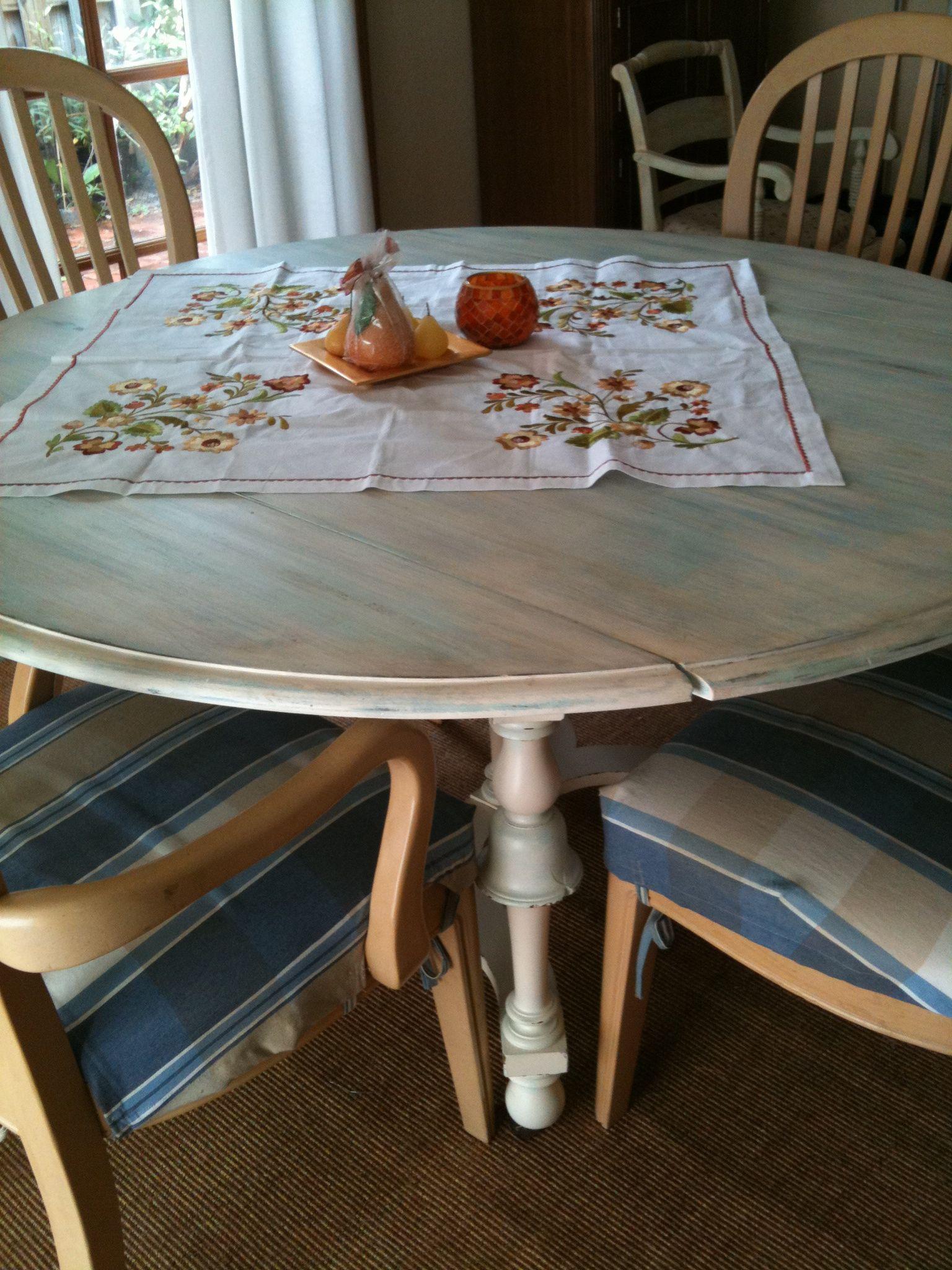 Originally An Old Dark Wood Drop Leaf Table, Painted To Look Beach Worn