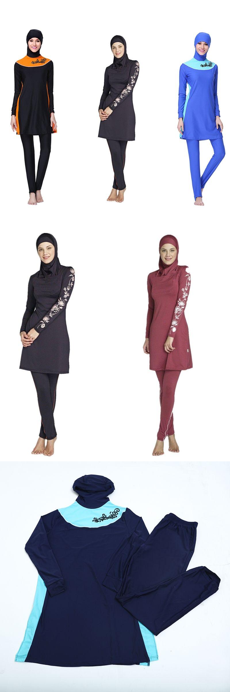 a5a7a8ef0ec1a Full Coverage Muslim Swimwear Islamic Swimsuit For Women Black Arab  Beachwear Hijab Plus Size Two Piece