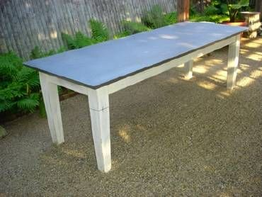 Zinc Top Dining Table With Large Tapered Legs Custom Please Call For Quotes On Other Sizes