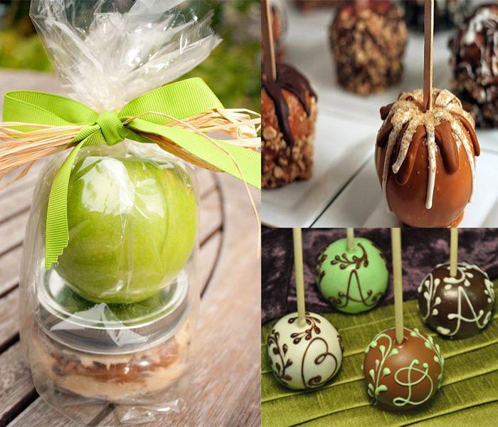 caramel apples wedding favor for fall wedding themed wedding