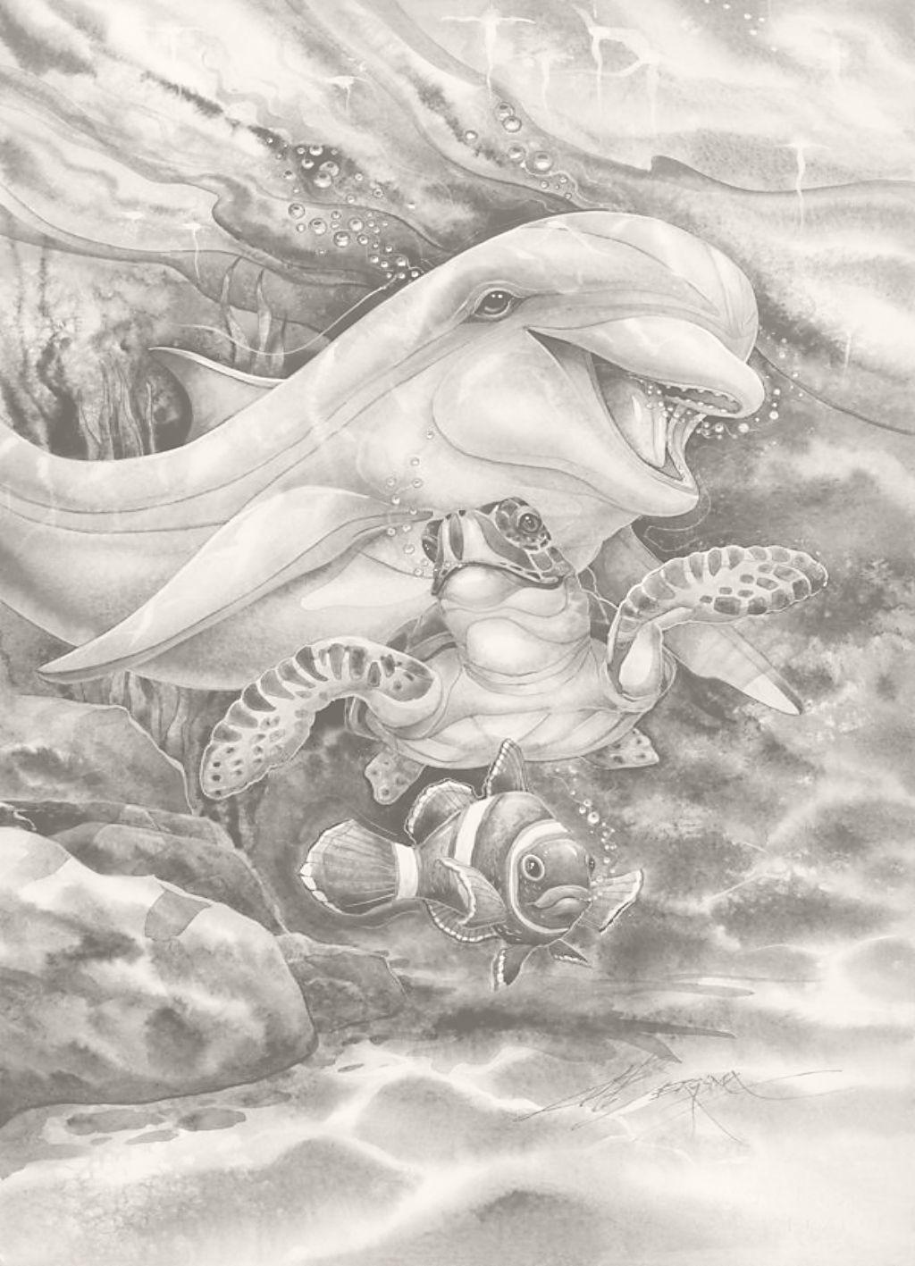 Alle Zwart Wit Platen Zijn Goed Uit De Printen Op 13 18 Cm Dolfijn Kunst Dieren Kleurplaten Draken Tekeningen