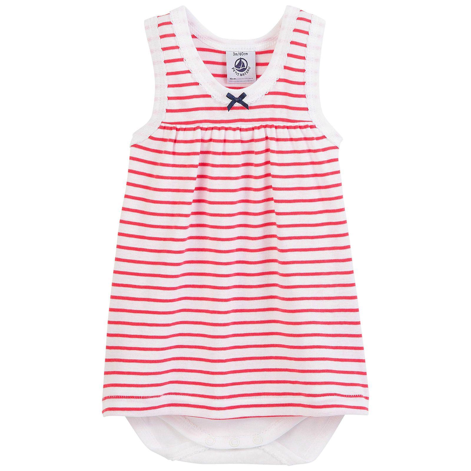 Pink//White-3 Months Baby Petit Bateau Striped Dress