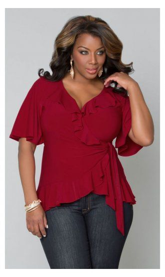 7c54236412c3a Whimsical Wrap Plus Size Top in Crimson by Kiyonna