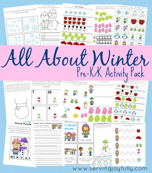 All About Winter Pre-K/K Printable Fun Pack