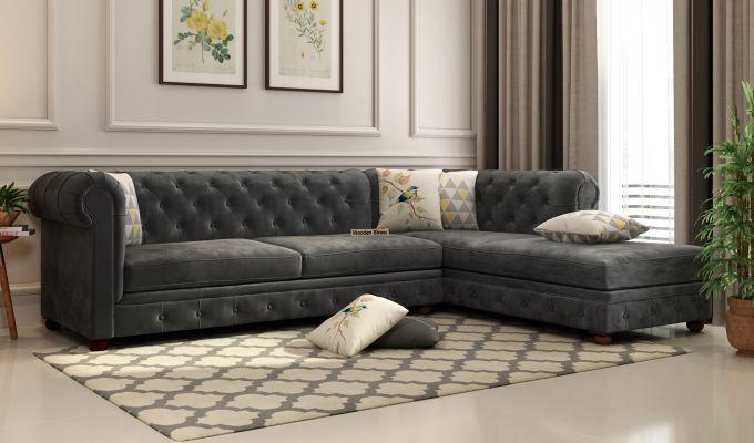 Buy Henry L Shape Right Aligned Corner Sofa Velvet Chestnut Brown Online In India Corner Sofa Design L Shaped Sofa Bed Living Room Sofa Design