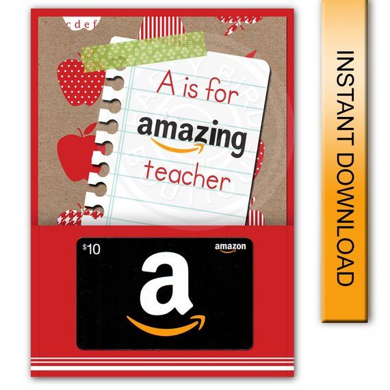 """Printable """"A is for Amazing Teacher"""" Amazon Gift Car ..."""