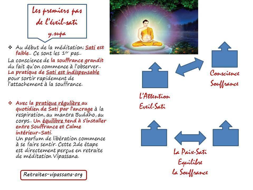 Les premiers pas des l'éveil sati.   Http://www.retraites-vipassana.org/