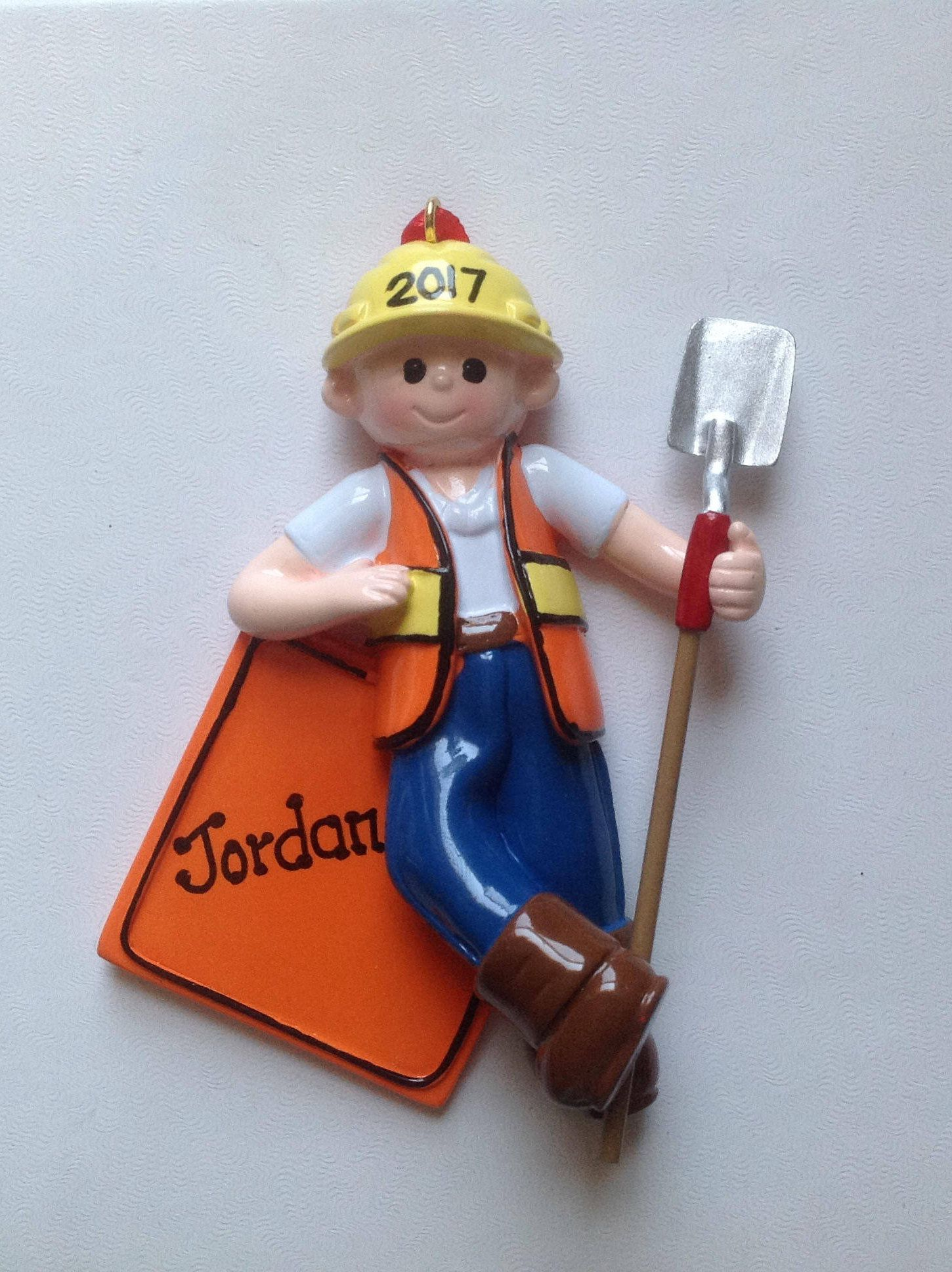 Construction worker personalized christmas ornamentbaby