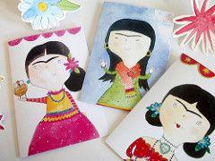Frida Kahlo Tarjetas de felicitación (Heidi M Mcdonald) Etiquetas: ejemplos fiesta folkart acuarela brightcolours Frida Kahlo mexicano greetingcards sugarskull littlenore fridakahlandcupcakes fridakahlogreetingcards drawingoffrida