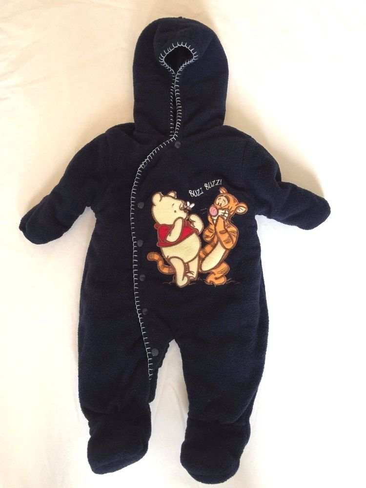 f548ccc6e Here you have a very cute infant snowsuit. It has a hood, snap closure, it.  featuring Disney's Winnie the Pooh and. hood to toe 28
