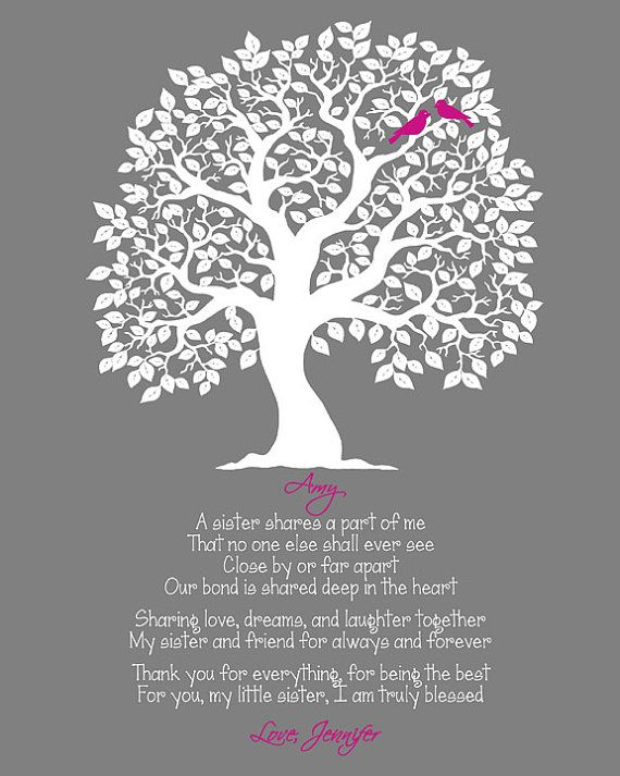 Sister's Wall Print, Sisters Poem, Maid of Honor Gift