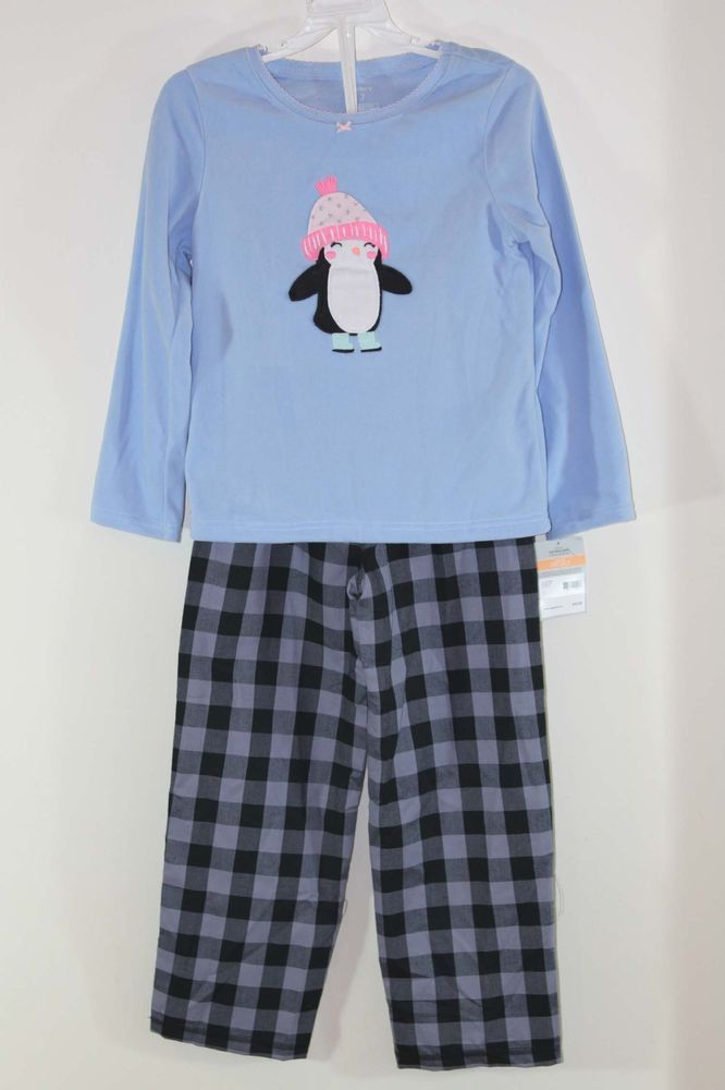 ad1af100e Carter s Girls 2pc Cotton Pjs Penguin Pajamas SleepWear Top Pants ...