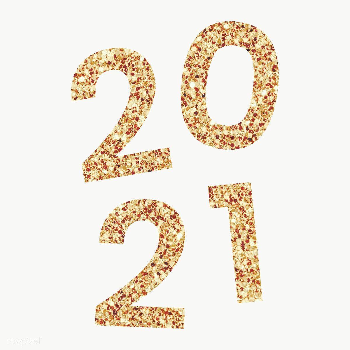 Festive golden shimmering 2021 transparent png free