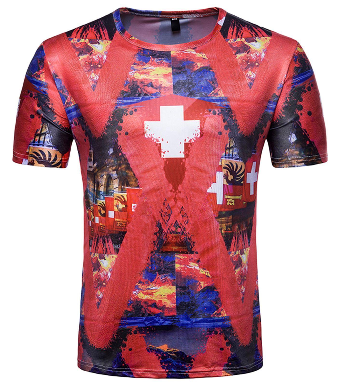 967b6a0392d Pizoff 2018 FIFA World Cup Hipster 3D Print T-Shirt BA0043-20  Mensoutfits