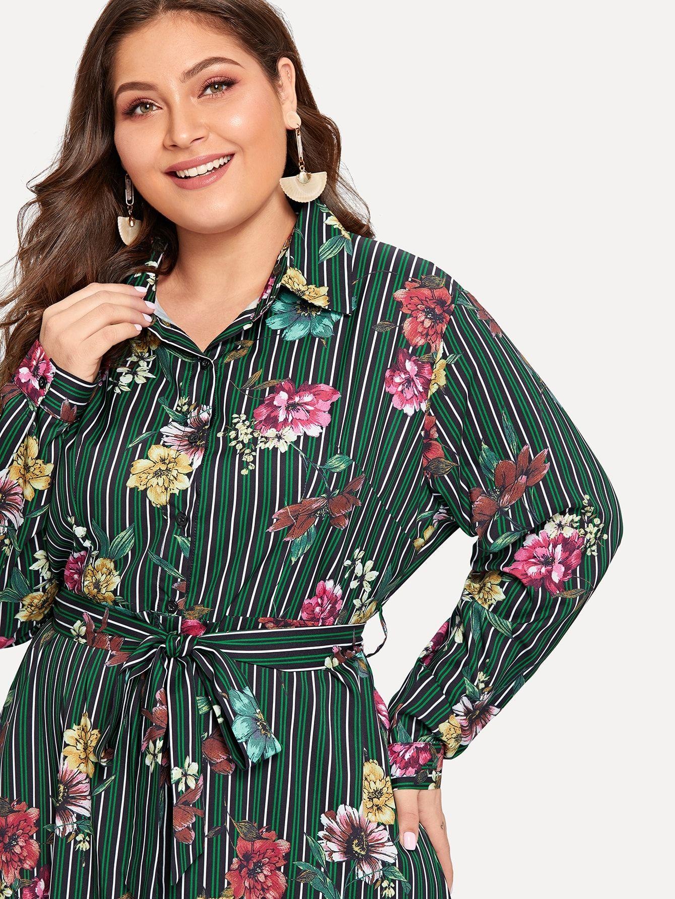 b8d9a7eb668 Plus Floral Print Striped Shirt Dress Print Floral Striped