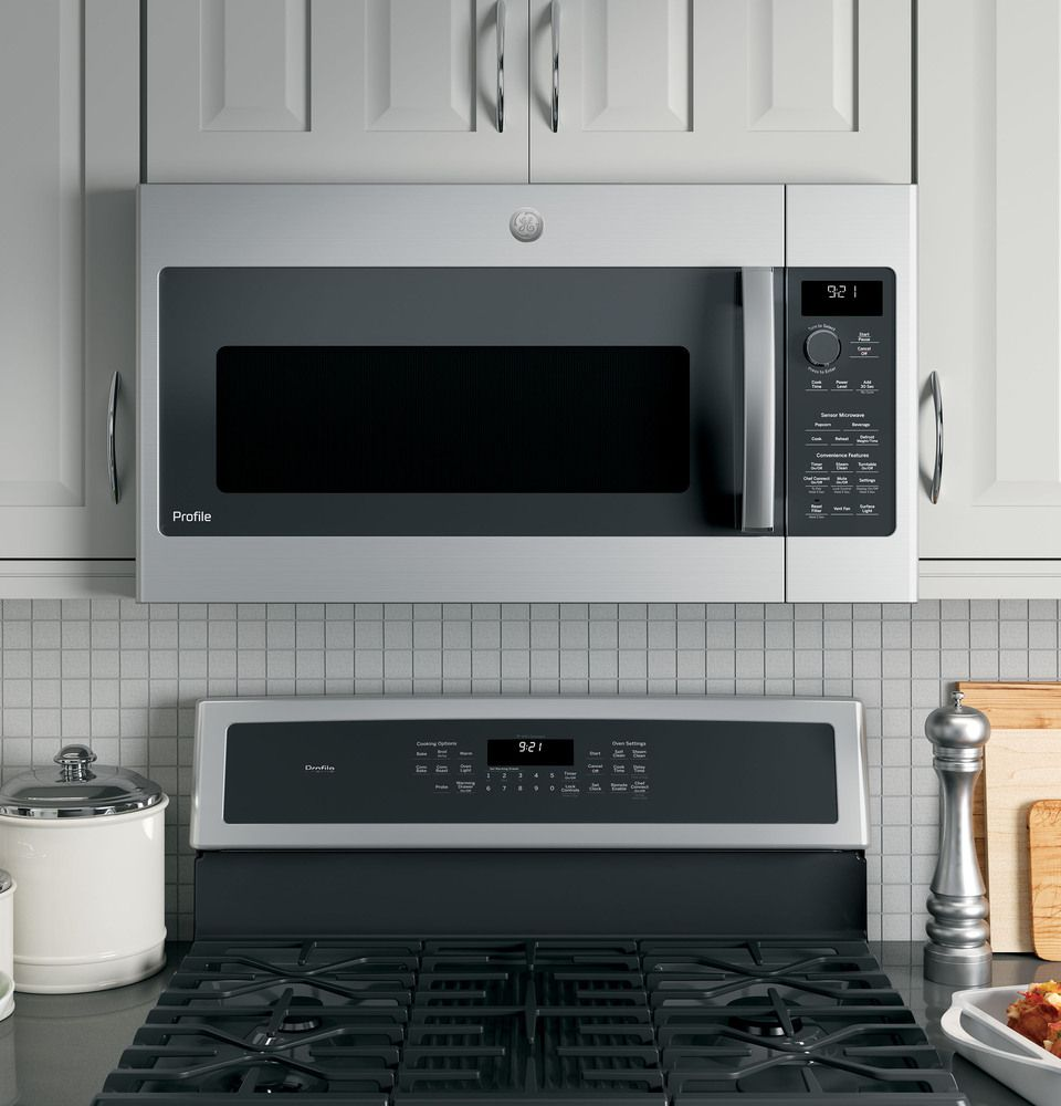Ge 2 1 Cu Ft Over The Range Microwave Stainless Steel