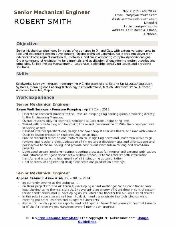 Senior Mechanical Engineer Resume Samples Qwikresume