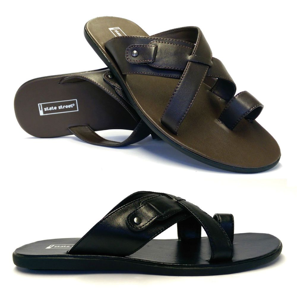 f3364364f4ad4 Mens Toe Loop Gladiator Sandals Summer Beach Cushioned Flip Flop ...