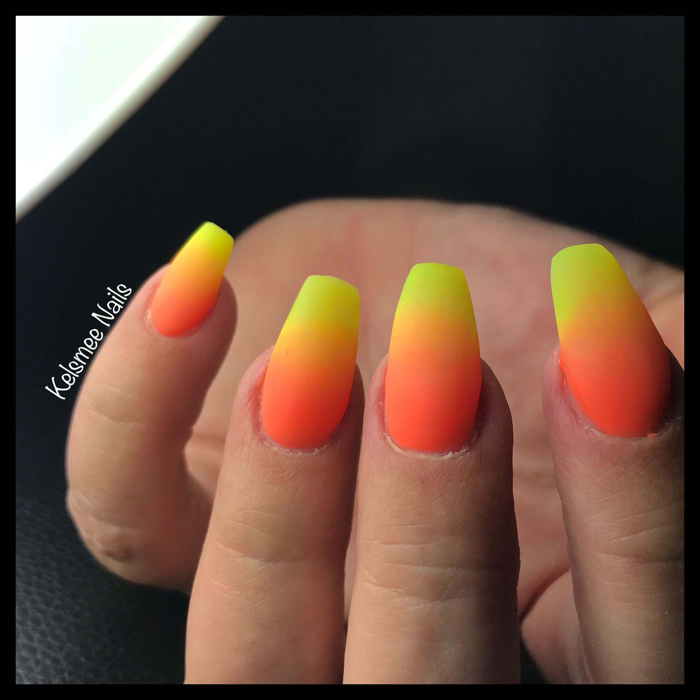 Orange Yellow Ombre Acrylic Nails Halloween Nails Ombre Acrylic Nails