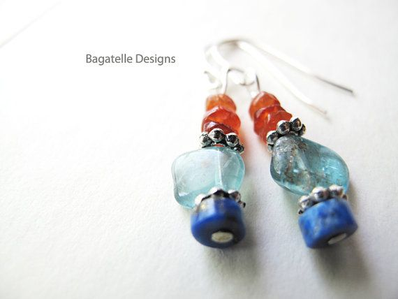 Bohemian blue petite earrings. Natural by BagatelleDesigns on Etsy, $17.99