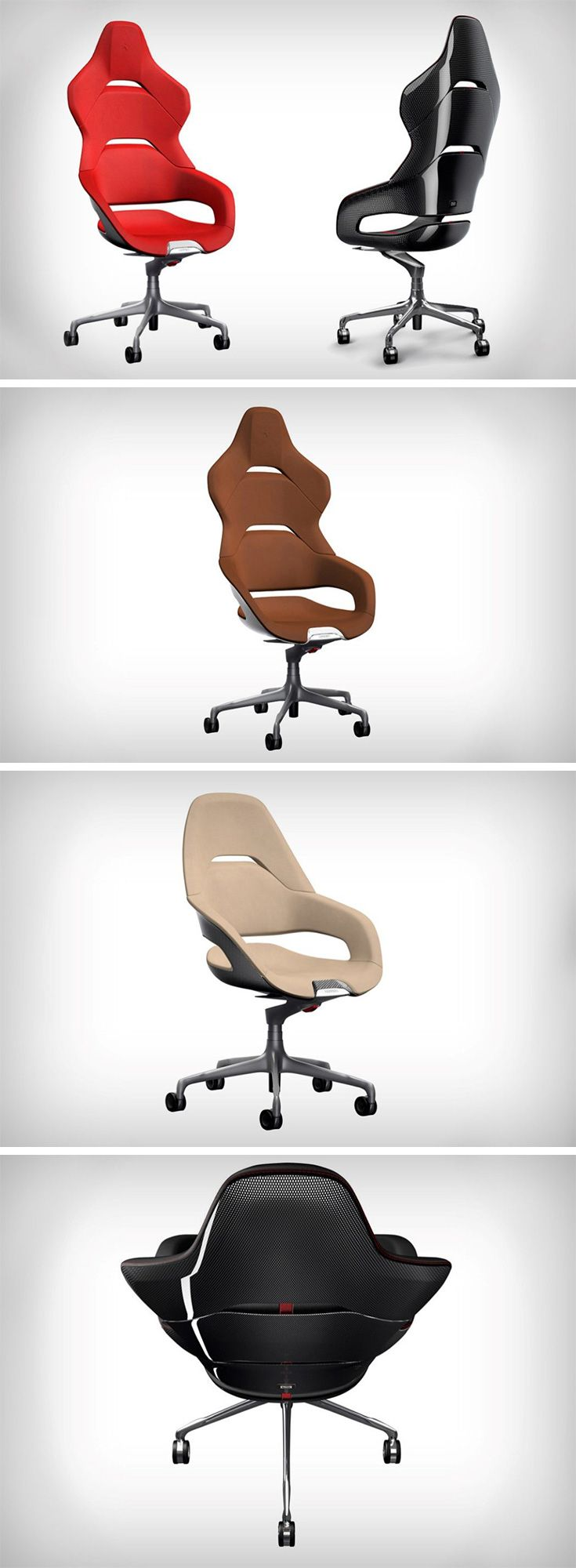 If office chair racing was a legit game, what better than to do it with Ferrari's new desk chair series?? These superior looking chairs come from the design team at Ferrari and Poltrana Frau, bringing some adrenaline from the racetrack to the workplace.