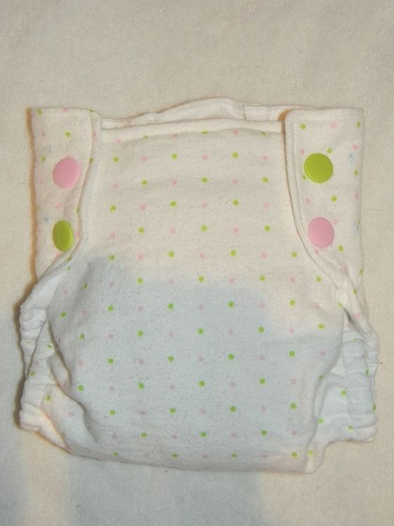 Pink & Green Polka Dots - Fitted Cloth diaper, snap or H - NB, SM ,MD ,LG $12.50