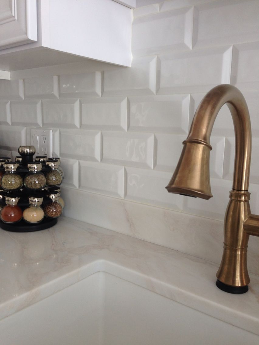 Champagne Bronze Delta Cassidy Faucet Cobsa White Bevel Tile